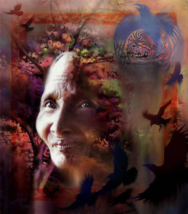 Spiritual Art Print featuring the digital art Grandmother Crow by Stephen Lucas