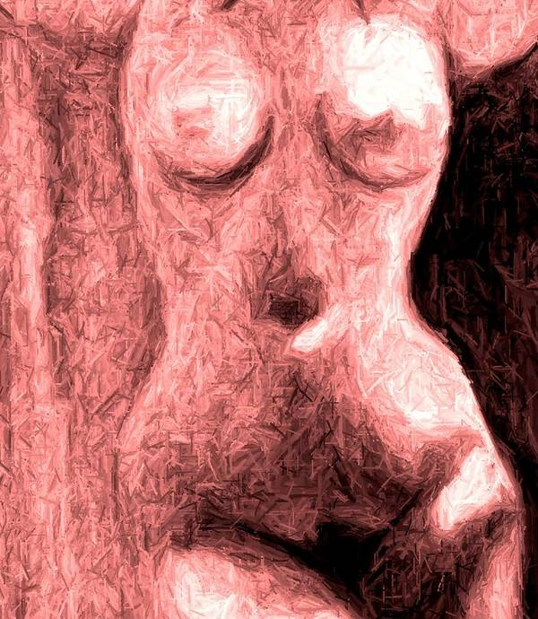 Erotica Female Figure Sexy Art Print featuring the painting Venus In My Room by Cartoon Hempman