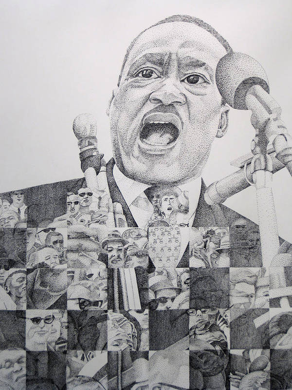 Martin Luther King Art Print featuring the drawing Martin Luther King-i Have A Dream by Joshua Morton