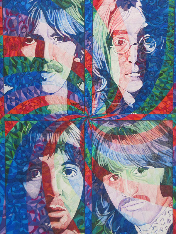 The Beatles Art Print featuring the drawing The Beatles Squared by Joshua Morton