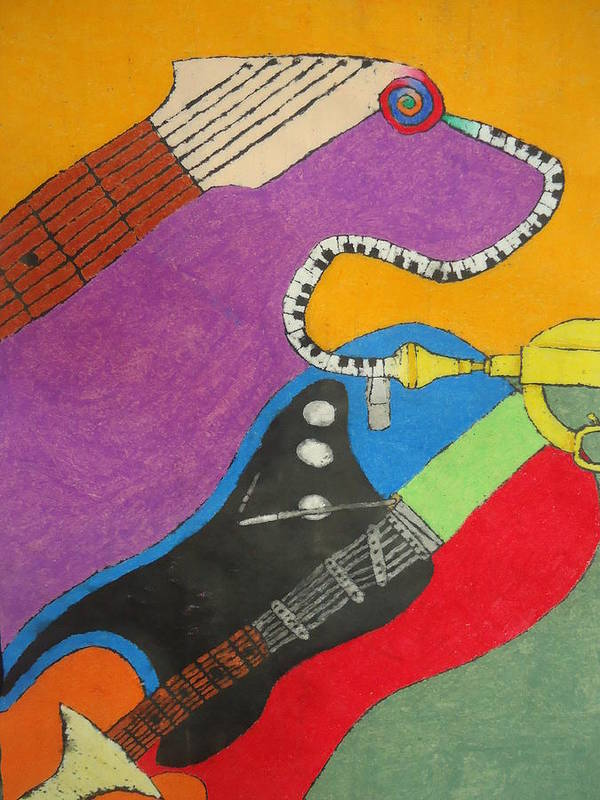 Musical Art Print featuring the pastel Jazz Trio by Derril Foster