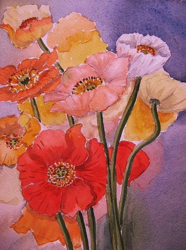 Poppies Art Print featuring the painting Poppies by Heidi Brummer