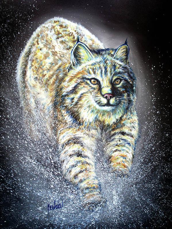 Bobcat Art Print featuring the painting Legacy by Teshia Art