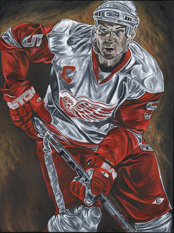 Nicklas Lidstrom Detroit Redwings Hockey Captain David Courson Art Sports Print featuring the painting Nicklas Lidstrom by David Courson