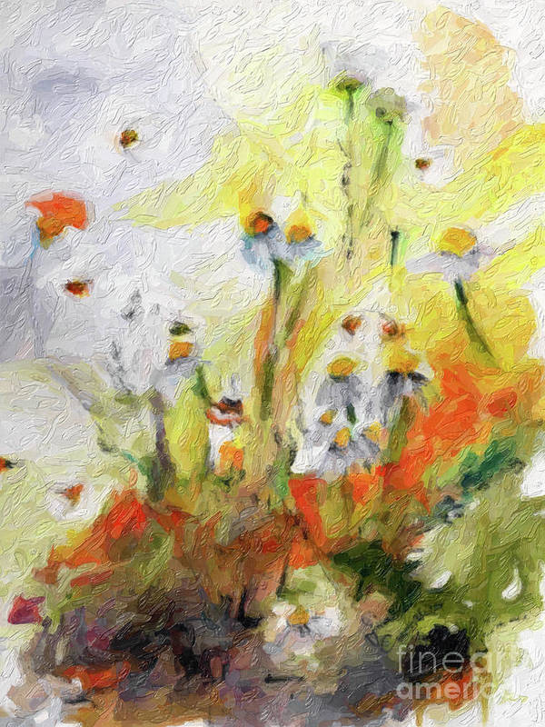 Flower Paintings Art Print featuring the digital art Chamomile Flowers Digital Impressionism Art by Ginette Callaway