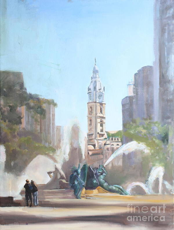 Logan Fountain and City Hall by Peg Ott Mcguckin