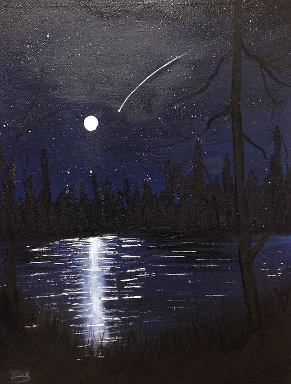 Night Sky Art Print featuring the painting Northern Shooting Star by Imran Virk