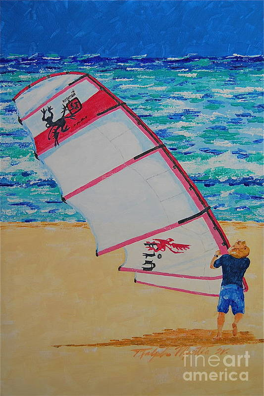 Beach Scene Art Print featuring the painting Dreamers Setup by Art Mantia