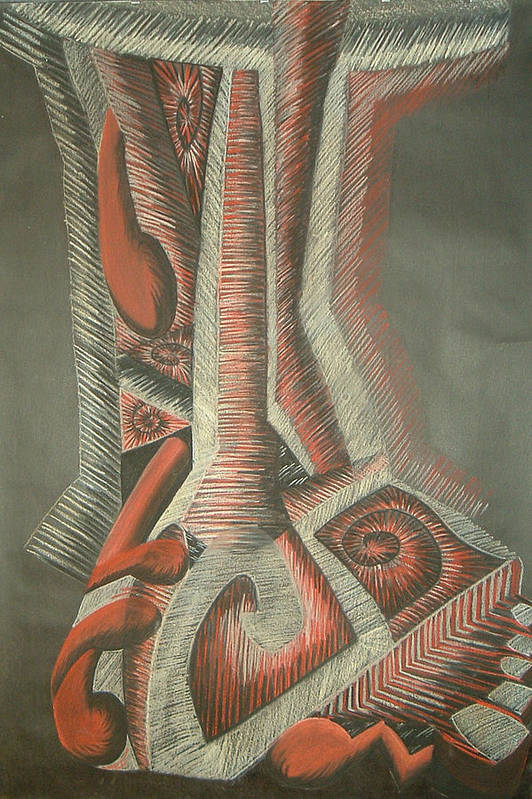 Abstract Art Print featuring the drawing Foot by Donald Burroughs