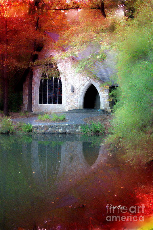 Landscape Fall Church Trees Reflection Sacred Art Print featuring the painting Sacred Silence by Carolyn Staut