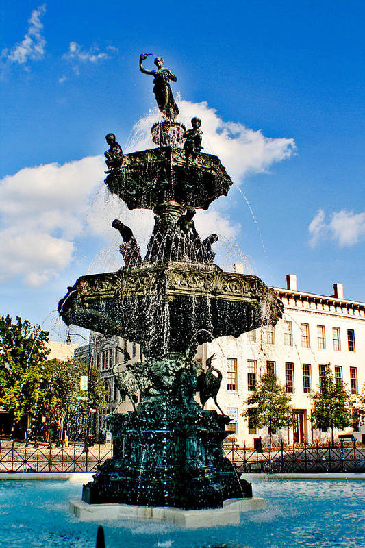 Fountain Art Print featuring the photograph The Town Square by Greg Sharpe