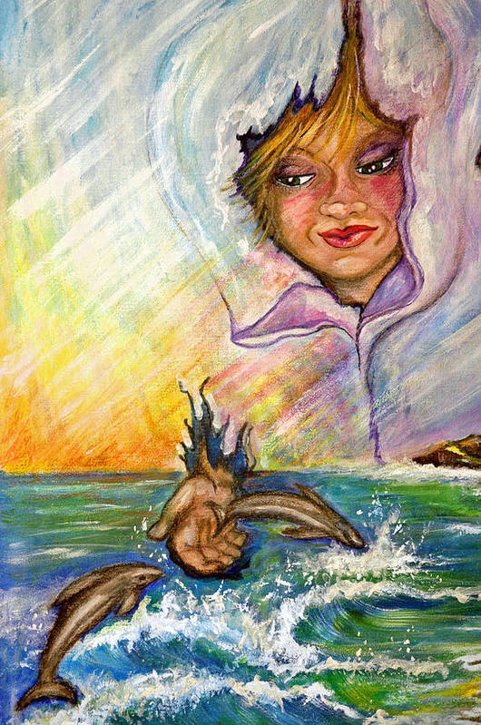 Playful Colorful Dolphin Played With By Young Person Art Print featuring the painting Playing With The Dolphins by Mickie Boothroyd
