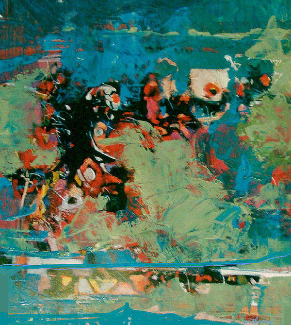 Abstract Art Print featuring the painting Nightly  Reflections by Dale Witherow