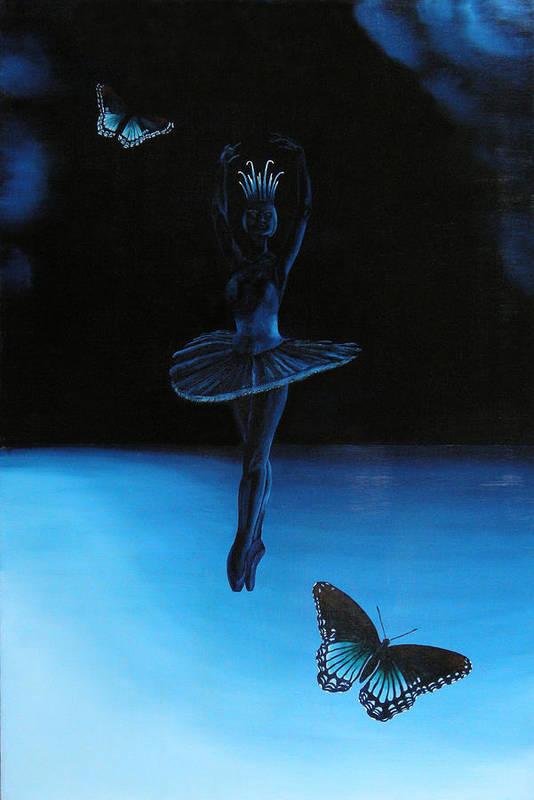 Ballerina. Ballerina Dancing. Blue. Butterfly. Butterflies Art Print featuring the painting Blue Ballerina by Ivan Rijhoff