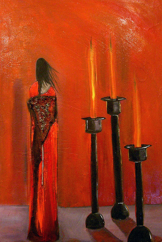Figurative Candles Red Art Print featuring the painting La Trinadad by Niki Sands