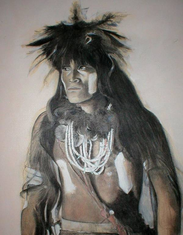 Hopi Art Print featuring the painting Hopi Snake Priest by Terri Ana Stokes