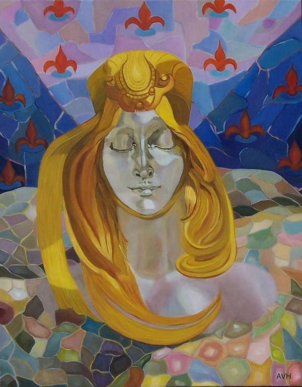 Figurative Art Print featuring the painting Born-after Mucha by Antoaneta Melnikova- Hillman