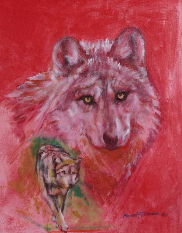Bbkexperi Art Print featuring the painting Wolf by Howard Stroman
