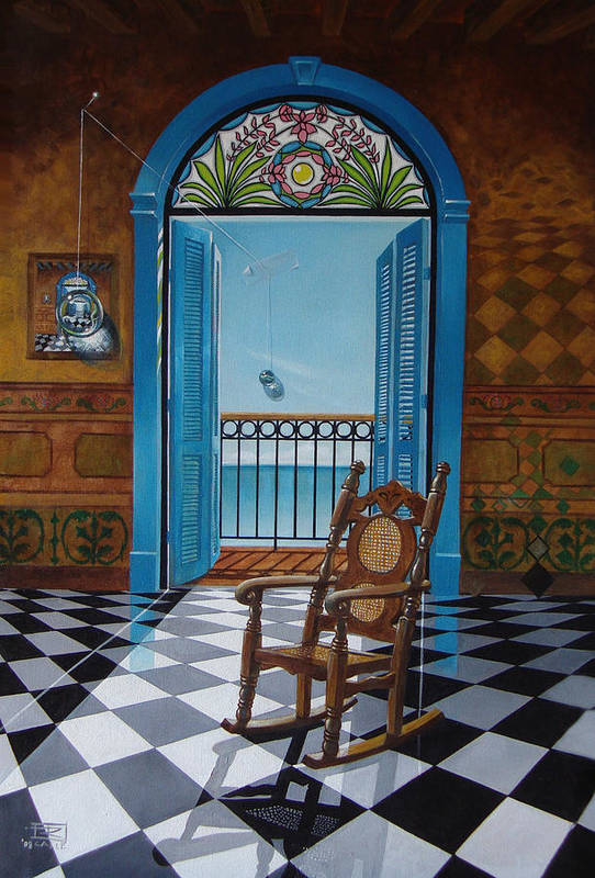 Spheres Art Print featuring the painting El Sillon De Abuelita by Roger Calle
