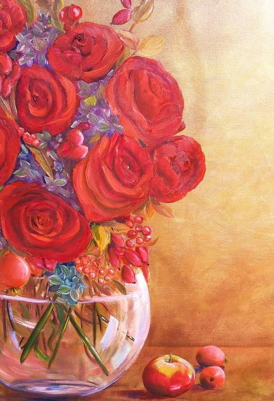 Red Roses Art Print featuring the painting Golden Oldies by Dana Redfern