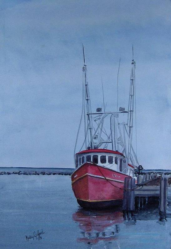 Fishing Trawler Art Print featuring the painting Provincetown Portuguese by Haldy Gifford