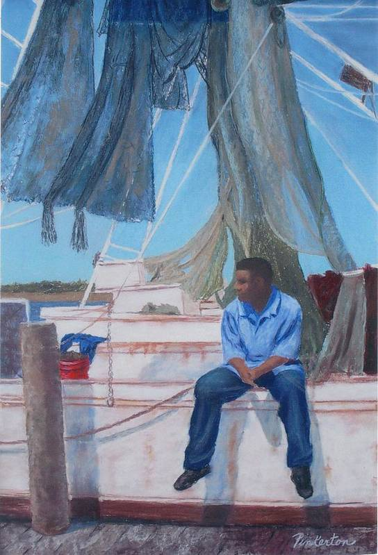 Figure Art Print featuring the painting Waiting For His Buddies by Miriam Pinkerton