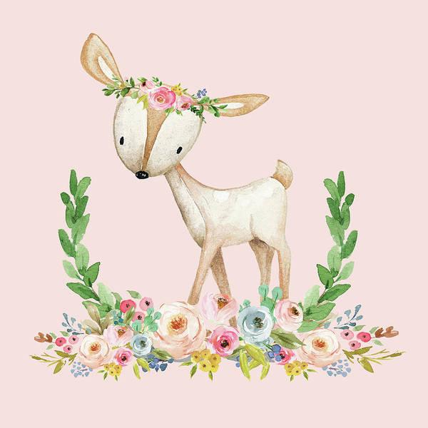 12 Month Floral Deer Print Baby Girls Summer Set