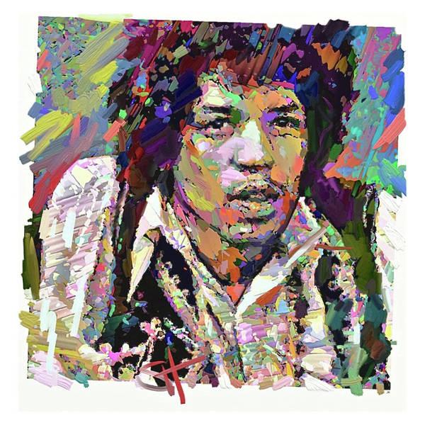 Jimi Hendrix Music Portrait Musician Rock Art Print featuring the digital art Jimi by Scott Waters