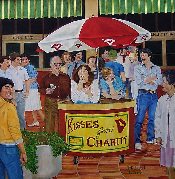 Illustration Art Print featuring the painting Kisses For Charity by Michael Lewis