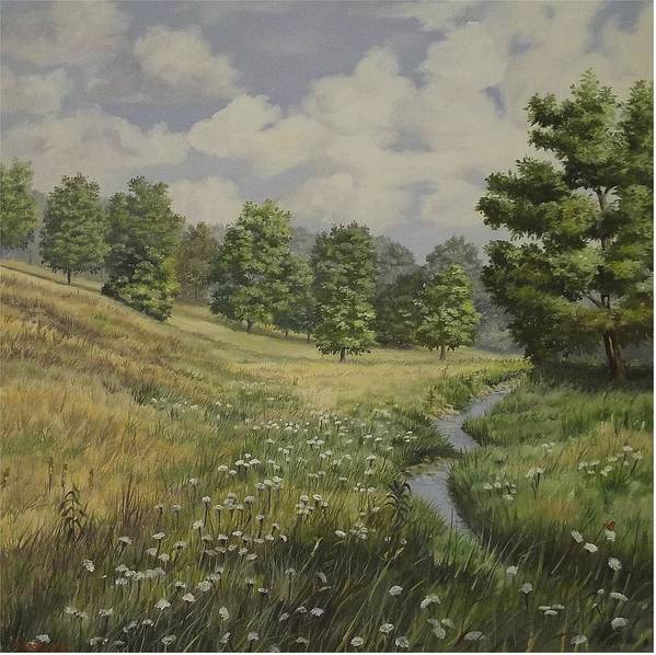 Cloudy Skies Art Print featuring the painting Field And Stream by Wanda Dansereau