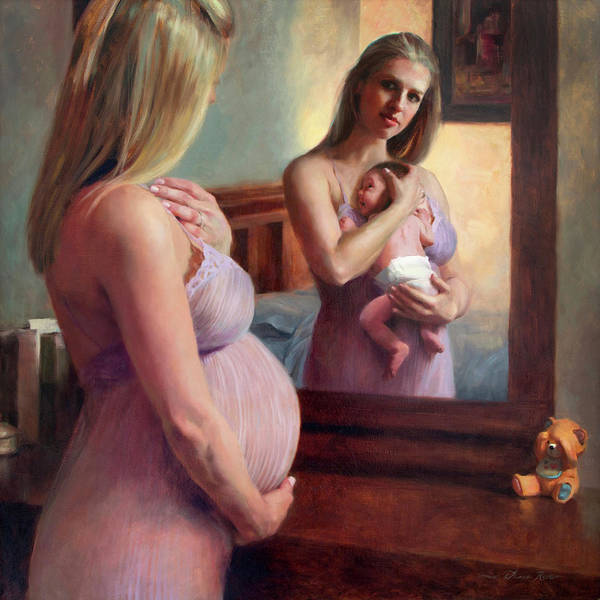 Pregnant Art Print featuring the painting The Wait and the Reward by Anna Rose Bain