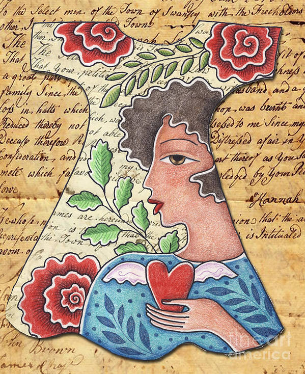 Red Flowers Art Print featuring the digital art I'm wearing my heart by Elaine Jackson