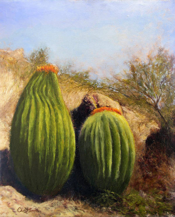 Cactus Art Print featuring the painting Desert Friends by Chris Neil Smith