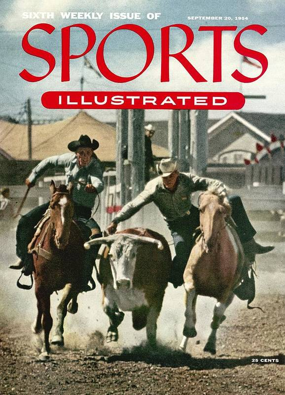 Magazine Cover Art Print featuring the photograph 1954 Calgary Stampede Sports Illustrated Cover by Sports Illustrated