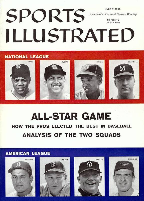 St. Louis Cardinals Art Print featuring the photograph 1958 All Star Game Preview Sports Illustrated Cover by Sports Illustrated