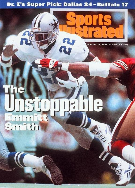 Magazine Cover Art Print featuring the photograph Dallas Cowboys Emmitt Smith, 1994 Nfc Championship Sports Illustrated Cover by Sports Illustrated