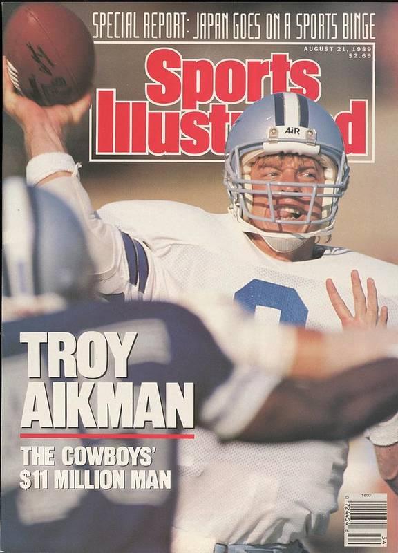 Magazine Cover Art Print featuring the photograph Dallas Cowboys Qb Troy Aikman... Sports Illustrated Cover by Sports Illustrated