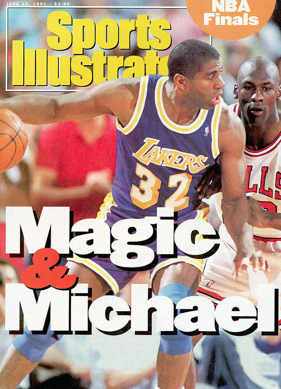 Playoffs Art Print featuring the photograph Los Angeles Lakers Magic Johnson, 1991 Nba Finals Sports Illustrated Cover by Sports Illustrated