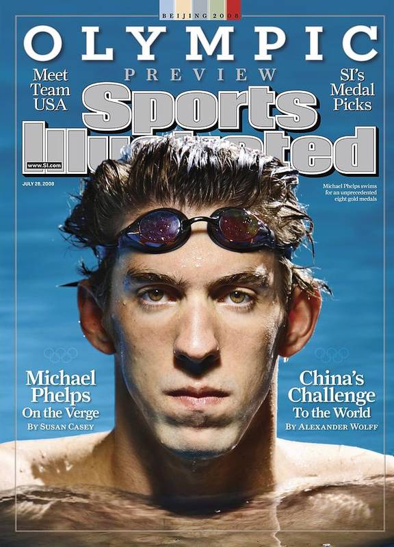 The Olympic Games Art Print featuring the photograph Usa Michael Phelps, 2008 Beijing Olympic Games Preview Sports Illustrated Cover by Sports Illustrated