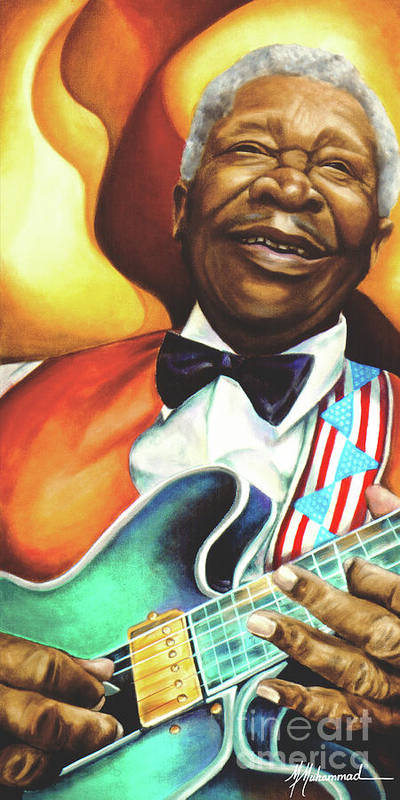 Musical Art Print featuring the painting B. B. King by Marcella Muhammad