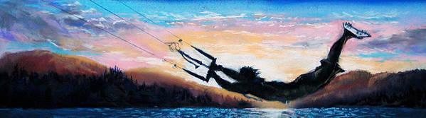 Kiteboarding Art Print featuring the pastel Flyin' Kiteboarder by Lynee Sapere