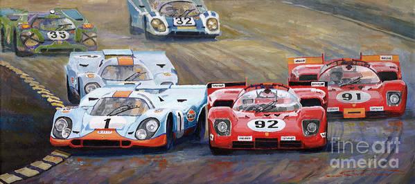 Acrilic On Canvas Art Print featuring the painting Ferrari vs Porsche 1970 Watkins Glen 6 Hours by Yuriy Shevchuk