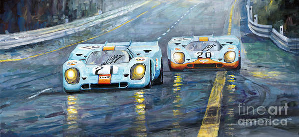 Automotive Art Print featuring the painting Porsche 917 K GULF Spa Francorchamps 1971 by Yuriy Shevchuk