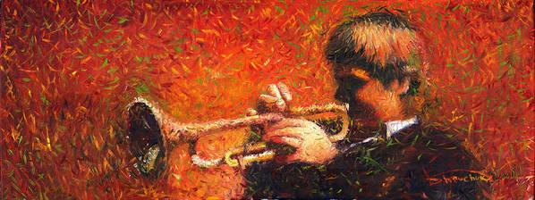 Jazz Art Print featuring the painting Jazz Trumpeter by Yuriy Shevchuk