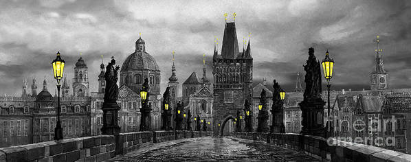 Prague Art Print featuring the painting BW Prague Charles Bridge 04 by Yuriy Shevchuk