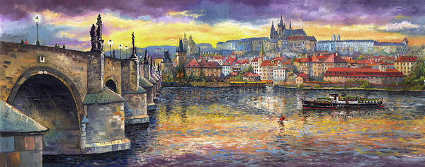 Oil On Canvas Art Print featuring the painting Prague Charles Bridge and Prague Castle with the Vltava River 1 by Yuriy Shevchuk
