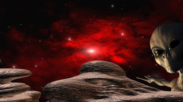 Space Art Print featuring the digital art Alien Planet by Robert aka Bobby Ray Howle