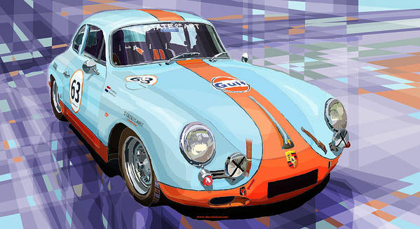 Automotive Art Print featuring the digital art Porsche 356 Gulf by Yuriy Shevchuk