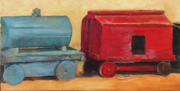 Train Art Print featuring the painting Old wood toy train part two by Chris Neil Smith