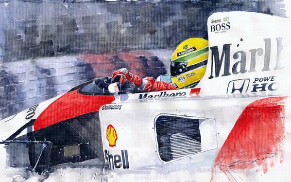 Watercolor Art Print featuring the painting Ayrton Senna McLaren 1991 Hungarian GP by Yuriy Shevchuk